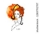 zodiac sign leo. beautiful girl ...   Shutterstock . vector #1283792707