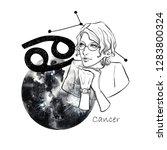 zodiac sign cancer. beautiful...   Shutterstock . vector #1283800324