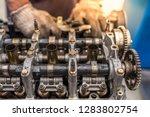 the mechanic opened the locking ...   Shutterstock . vector #1283802754