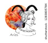 zodiac sign aries. beautiful... | Shutterstock . vector #1283805784