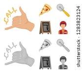 a pizza cutter  a slice  a menu ... | Shutterstock . vector #1283823124