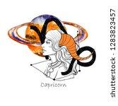 zodiac sign capricorn.... | Shutterstock . vector #1283823457