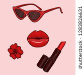 sunglasses and bright red lips ... | Shutterstock .eps vector #1283826631