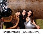 group of girls having fun on... | Shutterstock . vector #1283830291