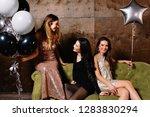 three charming attractive women ... | Shutterstock . vector #1283830294