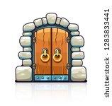 fairy tale door with golden... | Shutterstock .eps vector #1283833441