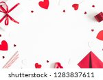 Stock photo valentine s day background gifts candle confetti envelope on white background valentines day 1283837611