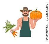 farmer with vegetables. vector... | Shutterstock .eps vector #1283853397