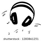 headphones and music notes. for ... | Shutterstock .eps vector #1283861251
