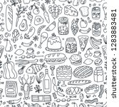 various hand drawn food. doodle ... | Shutterstock .eps vector #1283883481