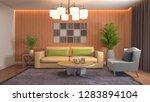 interior of the living room. 3d ... | Shutterstock . vector #1283894104