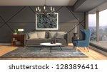 interior of the living room. 3d ...   Shutterstock . vector #1283896411