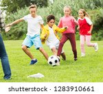 active children are jogning and ... | Shutterstock . vector #1283910661