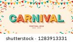 carnival card or banner with... | Shutterstock .eps vector #1283913331