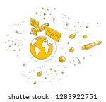 satellite orbiting around earth ... | Shutterstock .eps vector #1283922751