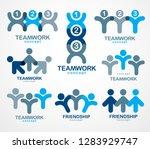 teamwork and friendship...   Shutterstock .eps vector #1283929747