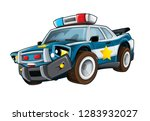 cartoon smiling police car on... | Shutterstock . vector #1283932027