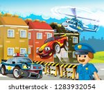 cartoon scene with police chase ... | Shutterstock . vector #1283932054