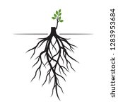 tree roots and germinate limb.... | Shutterstock .eps vector #1283953684