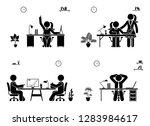 stick figure business meeting... | Shutterstock .eps vector #1283984617
