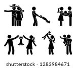 stick figure happy family... | Shutterstock .eps vector #1283984671