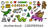 pixel art 8 bit objects. retro... | Shutterstock .eps vector #1283985064