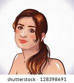 sexy brunette girl smiles.... | Shutterstock .eps vector #128398691