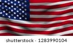 american flag ripple. vector...   Shutterstock .eps vector #1283990104