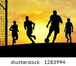 players playing soccer outdoors. | Shutterstock . vector #1283994