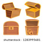 dower chest icons set. cartoon... | Shutterstock .eps vector #1283995681
