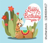 illustration with llama and... | Shutterstock .eps vector #1284004417