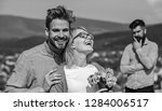 lovers hugs outdoor flirt... | Shutterstock . vector #1284006517