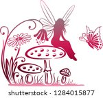 little fairy on a mushroom.... | Shutterstock . vector #1284015877