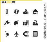 industrial icons set with boom  ...