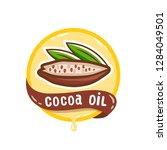cocoa oil logo. organic natural ...   Shutterstock .eps vector #1284049501