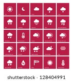 weather icons on red background....