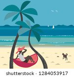 summer seaside landscape. blue... | Shutterstock .eps vector #1284053917