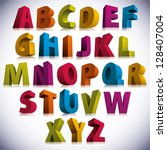 3d font  big colorful letters... | Shutterstock .eps vector #128407004