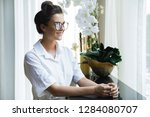 beautiful businesswoman in... | Shutterstock . vector #1284080707