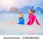 cute happy girl and boy with... | Shutterstock . vector #1284084481