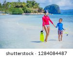 cute happy girl and boy with...   Shutterstock . vector #1284084487