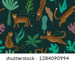 jungle seamless pattern. animal ... | Shutterstock .eps vector #1284090994