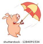 illustration of a cute pig.... | Shutterstock . vector #1284091534