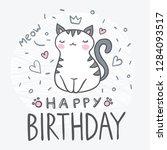 little cute cartoon cat... | Shutterstock .eps vector #1284093517