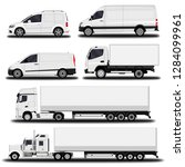 vehicles set. cargo truck and... | Shutterstock .eps vector #1284099961