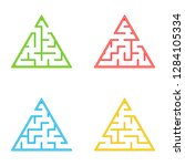 a set of mazes. game for kids.... | Shutterstock .eps vector #1284105334