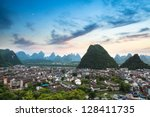 Aerial View Of Yangshuo County...