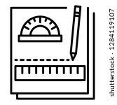 homework notebook icon. outline ... | Shutterstock .eps vector #1284119107