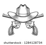 cowboy hat and a pair of... | Shutterstock .eps vector #1284128734