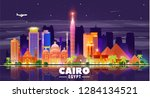cairo  egypt  night skyline at... | Shutterstock .eps vector #1284134521